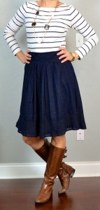 outfit post: striped shirt, navy aline skirt, brown riding boots
