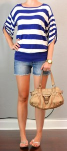 outfit post: purple & white striped top, jean shorts