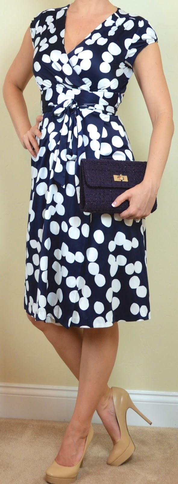 outfit post: navy & white polka dot dress, white cardigan