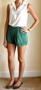 outfit post: white button down sleeveless, green scalloped shorts, cheetah flats
