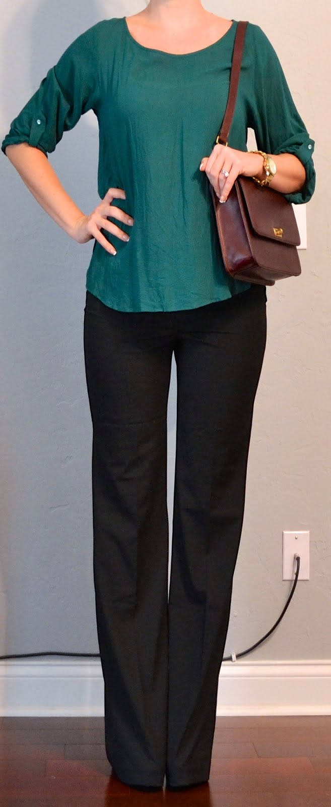 Outfit Post Green Blouse Black Pants Burgundy Purse