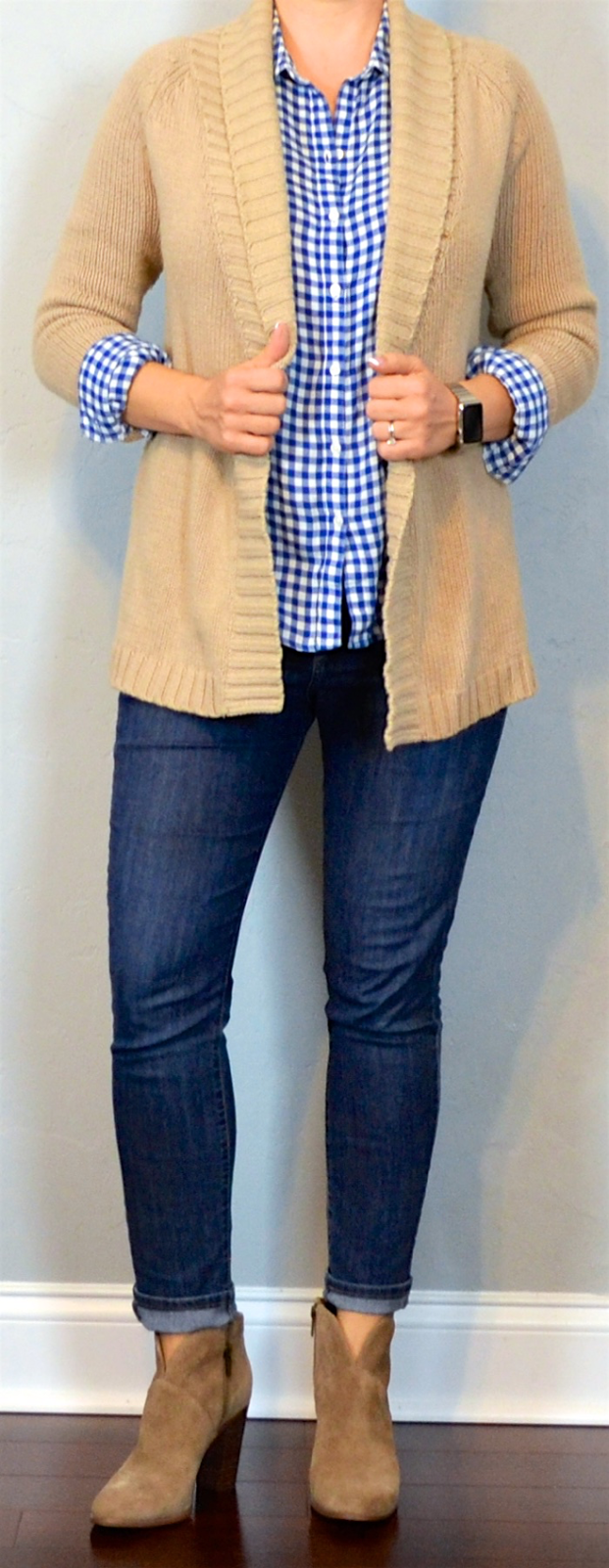 Outfit post blue check button down oatmeal cardigan skinny jeans ankle boots