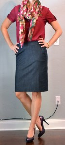 outfit post: denim pencil skirt, maroon camp shirt, floral scarf