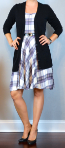 outfit post: purple plaid dress, black boyfriend cardigan, black pumps