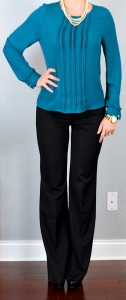 outfit post: teal pleated blouse, black 'editor' pants