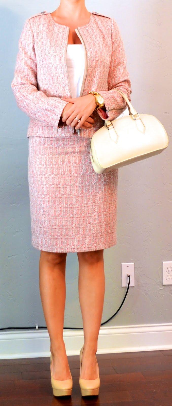 Outfit Post Pink Tweed Jacket Pink Tweed Pencil Skirt