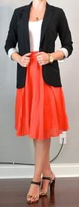 outfit posts: red skirt, black jacket, leopard heels