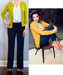 outfit post: polka-dot blouse, green/mustard cardigan, black pants, black pumps