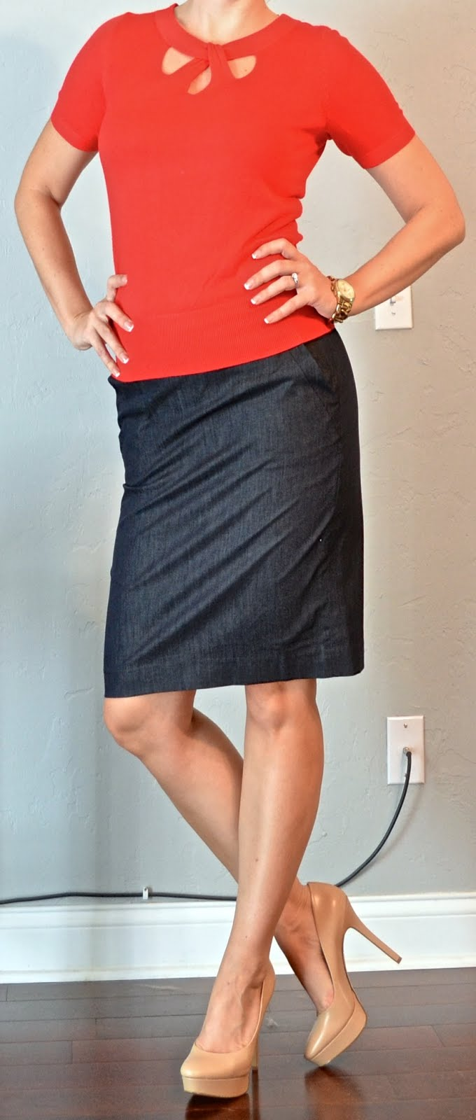 Outfit Post Red Sweater Denim Pencil Skirt Nude Pumps