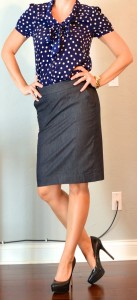 outfit post: polka-dot blouse, denim pencil skirt