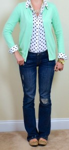 outfit post: mint cardigan, polka dot blouse, bootcut jeans
