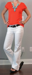 outfit post: red t-shirt, white jeans, teal necklace