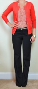 outfit post: red floral tiered camisole, red cardigan, black 'editor' pants