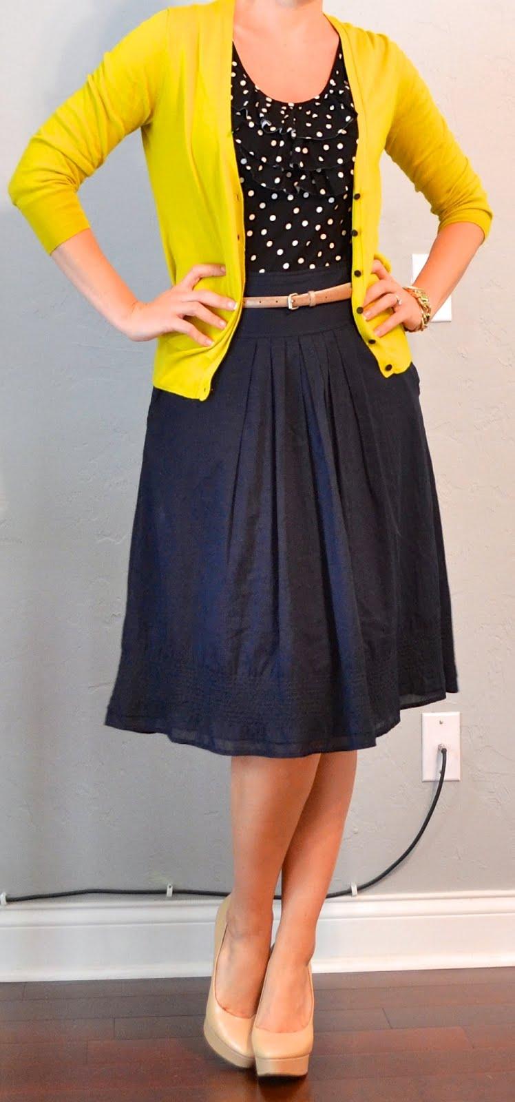 outfit post: navy & white polka-dot dress, navy cardigan