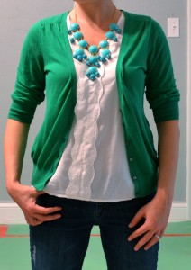 outfit post: kelly green cardigan, teal necklace