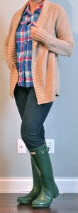 outfit post: hunter boots, skinny jeans, bright plaid shirt, tan cardigan
