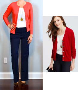 outfit posts: red cardigan, white camisole, navy pants, brown mary janes