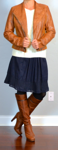 outfit post: brown leather jacket, cream cable knit sweater, navy a-line skirt, brown high heeled boots