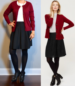 outfit post: burgundy cardigan, white lace shirt, black a-line skirt, black booties