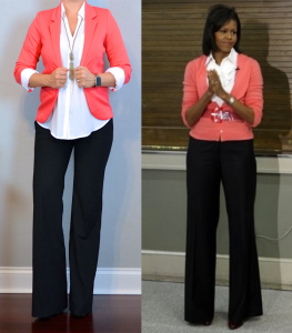 outfit post: coral blazer, white portofino shirt, black pants, black pumps