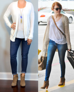 outfit post: cream boyfriend cardigan, white tank, skinny jeans, ankle boots