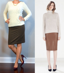 outfit post: cream cable knit, brown pencil skirt, burgundy pumps