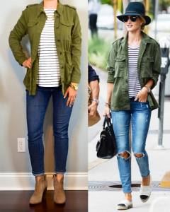 outfit post: green military jacket, striped shirt, skinny jeans, ankle boots