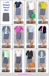 year in review – outfit posts: striped pencil skirt – 11 ways