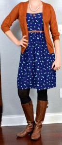 outfit post: navy heart dress, rust cardigan, brown riding boots
