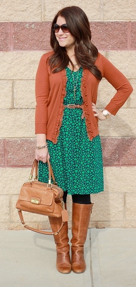 Brown Turquoise Dress
