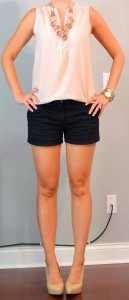 outfit posts: nude button down, black shorts, pink chunky necklace