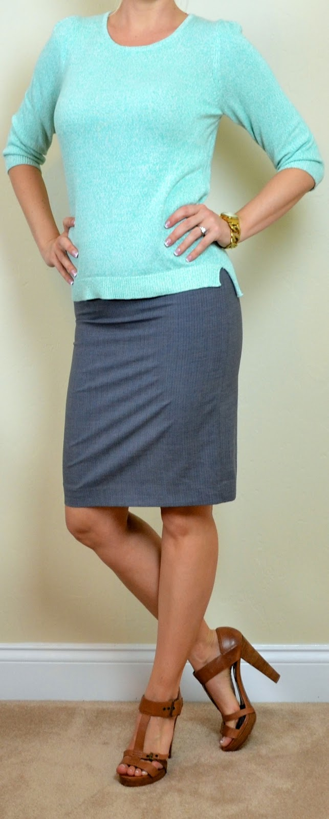 Outfit Post Mint Sweater Grey Pencil Skirt Brown T-strap Heels
