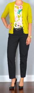 outfit post: foral crepe shell, mustard cardigan, black ankle pants