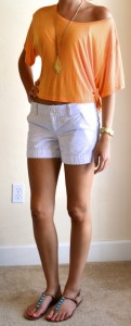 outfit post: orange off should top, white shorts