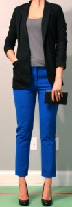 outfit post: blue pants, grey tank, black blazer