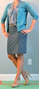 outfit post: blue tie blouse, grey skirt, teal cardigan