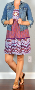 outfit post: purple boho dress, jean jacket, sandals