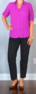 outfit post: pink portofino shirt, black 'editor' ankle pants, leopard wedges