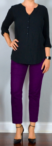 outfit post: black button top, purple cropped ankle pants, black pointed toe pumps