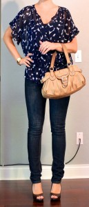 outfit posts: navy sheer patterned blouse, skinny jeans, peep toed pumps