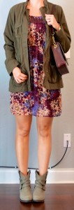 outfit post: burgundy floral dress, army jacket, ankle boots