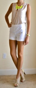outfit post: white shorts, nude button up, neon necklace