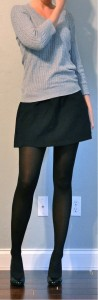 outfit post: grey sweater, black mini skirt, black tights, black heels