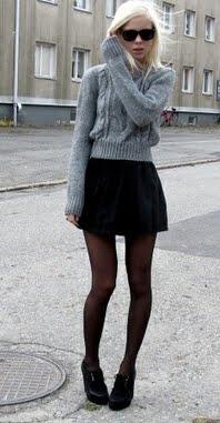 Black Miniskirt E Black Pantyhose