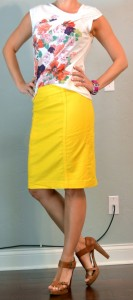 outfit post: white floral shirt, yellow pencil skirt