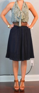 outfit posts: green tie blouse, navy a-line skirt, tan t-strap heels