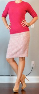outfit post: fushcia pink sweater, pink tweed pencil skirt, nude pumps