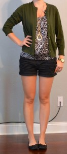 outfit post: polkadot blouse, green cardigan, black shorts