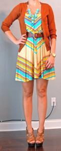 outfit post: bright chevron dress, rust cardigan