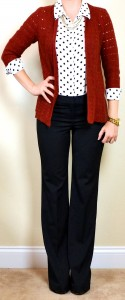outfit post: polka-dot blouse, chunky knit rust cardigan, black 'editor' pant